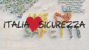 Una scritta Italia Sicurezza e un cuore per la Giornata Mondiale della sicurezza sul Lavoro