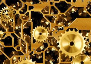 L'ingranaggio di un orologio come simbolo della sicurezza sul lavoro